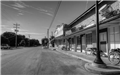Black and White Image of Street Stores