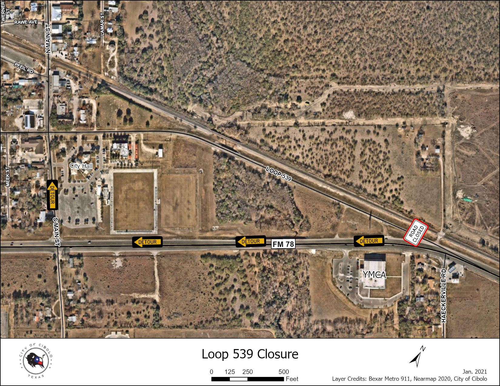 Picture of Loop 539 detour map.