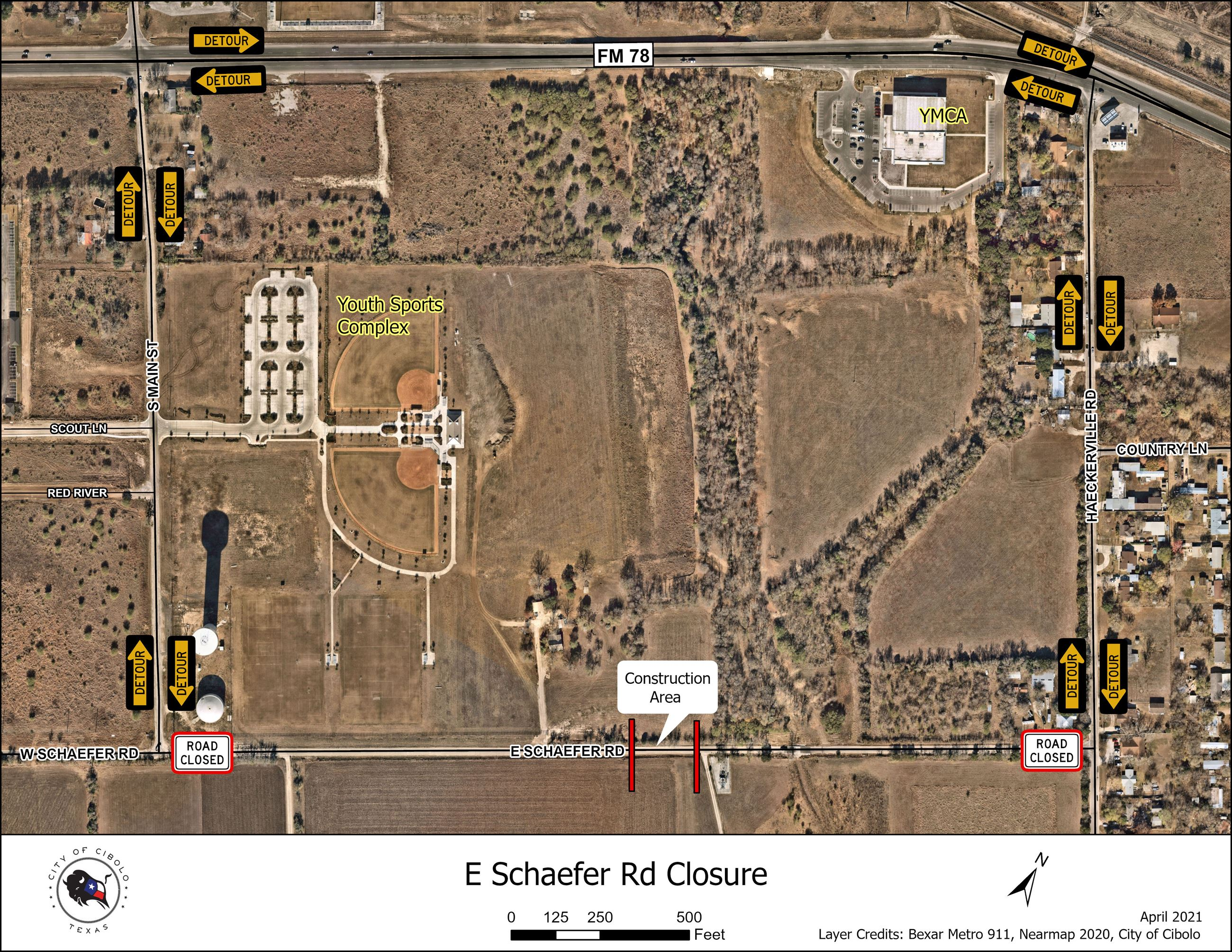 E Schaefer Rd Closure Apr2021