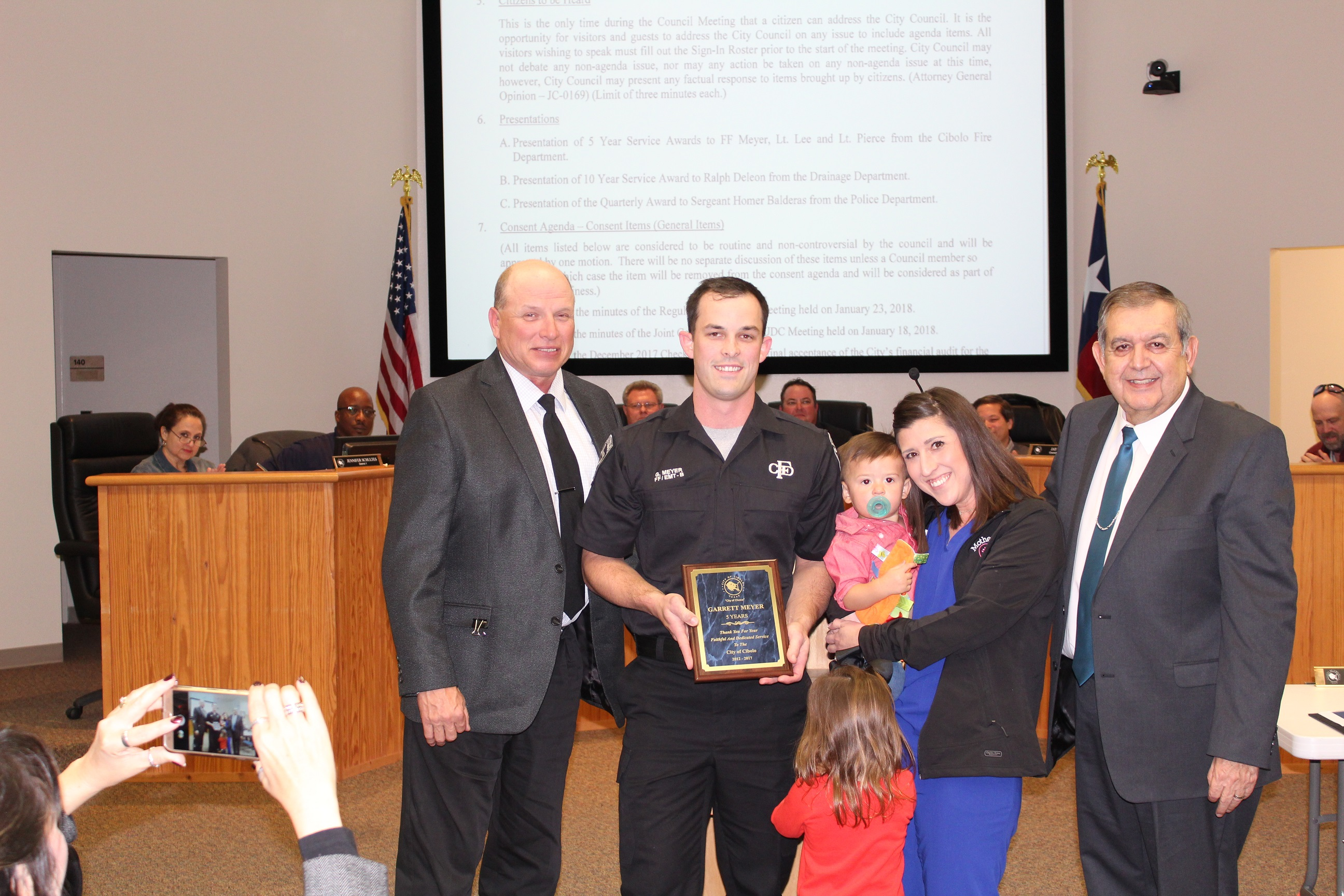Presentation to Garret Meyer for 5 years of Service to the City of Cibolo