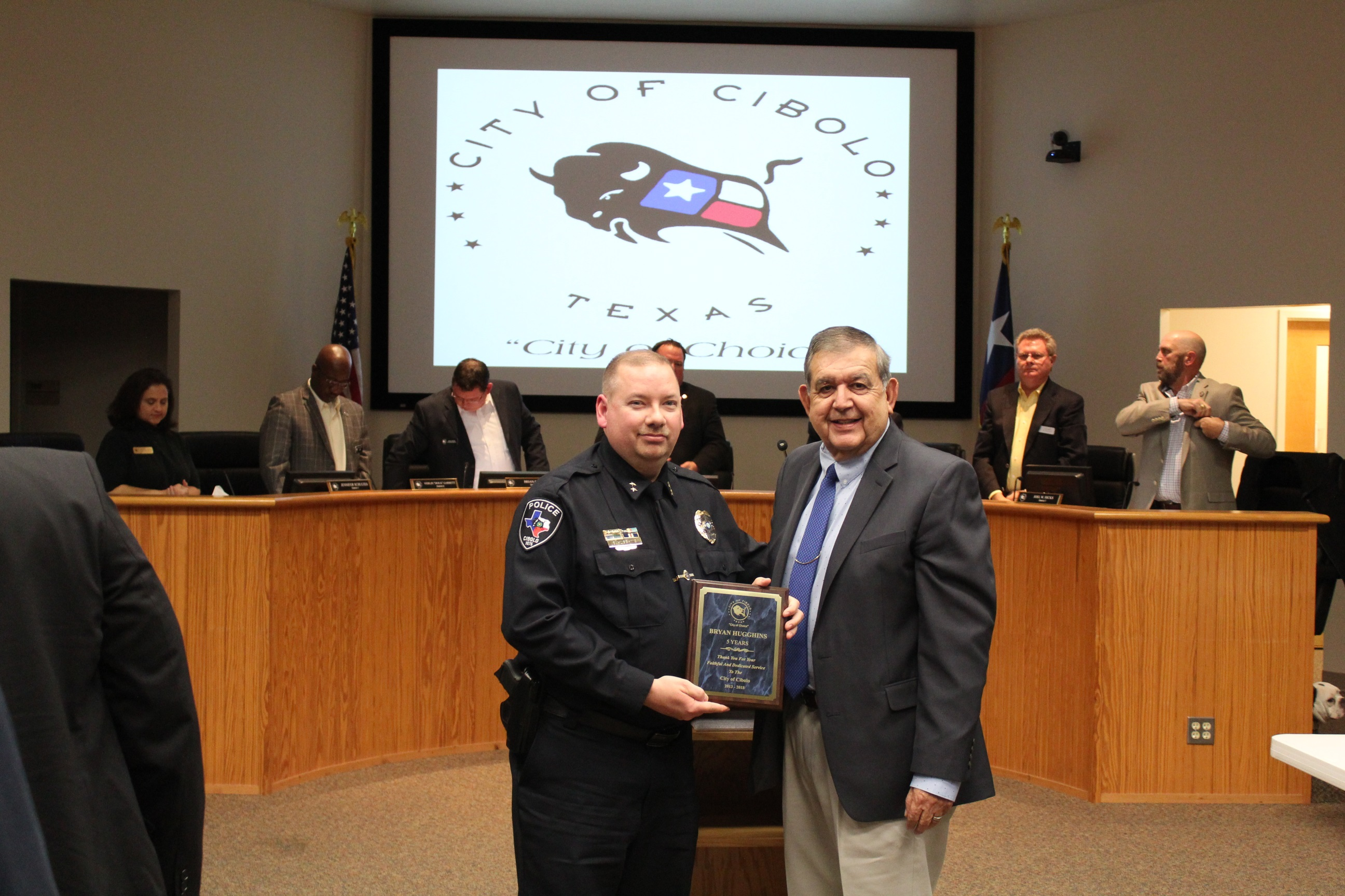 Mr. Herrera Presentation of 5 Years Service Award to Interim Police Chief Bryan Hugghins